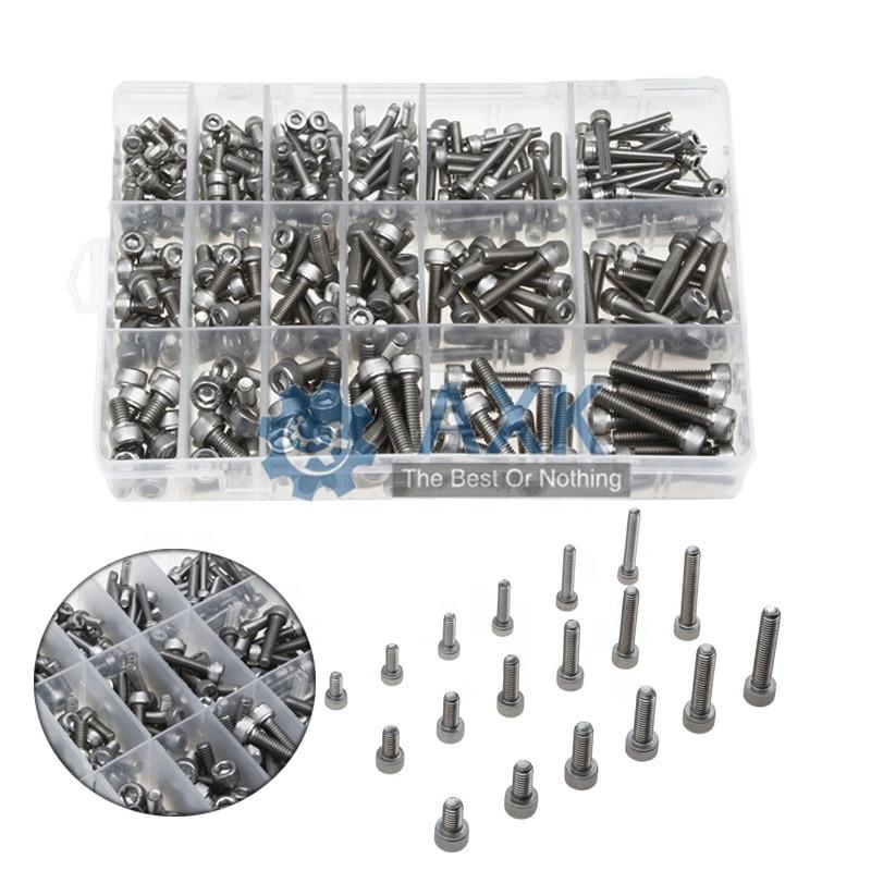 300pcs/set Black Din912 M2 M2.5 M3 Allen Bolt Hex Socket Round Cap Head Screw And Nut Assortment Kit Set