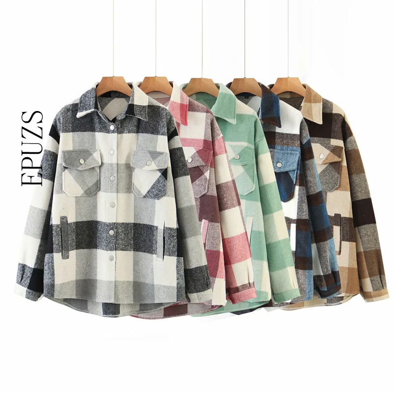 vintage green lattice shirt jackets womens loose plaid coat 2020 winter plus size jackets casual women jacket 2020(China)