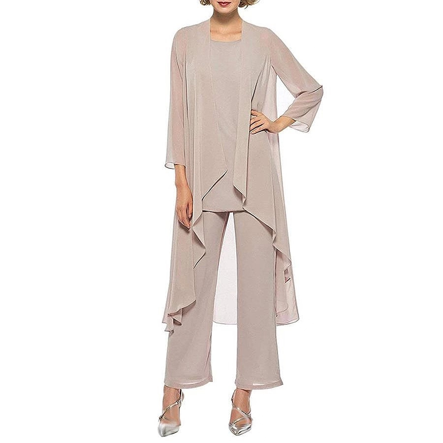 Elegant Three Pieces Mother Of The Bride Dresses Chiffon Pant Suits With Long Jacket Plus Size Mother Of The Groom Dress 2019 3.