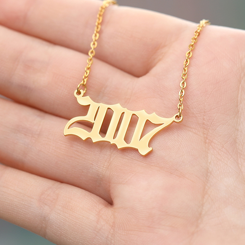 Stainless Steel Year Number Custom Necklaces Pendants For Women Men Gold Silver Long Chain Male Female