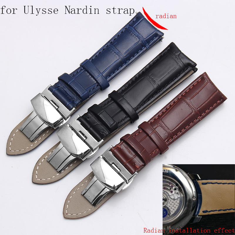 Shengmeirui For Ulysse Nardin Strap CLASSIC MARINE Black Brown Blue Curved Leather Strap Men's Bracelet 20MM 19MM 21MM