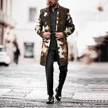 Camouflage Trench Coat Men 2020 New Long Jacket Mens Casual Loose Warm England Style Overcoats Single Breasted Windbreaker Coats