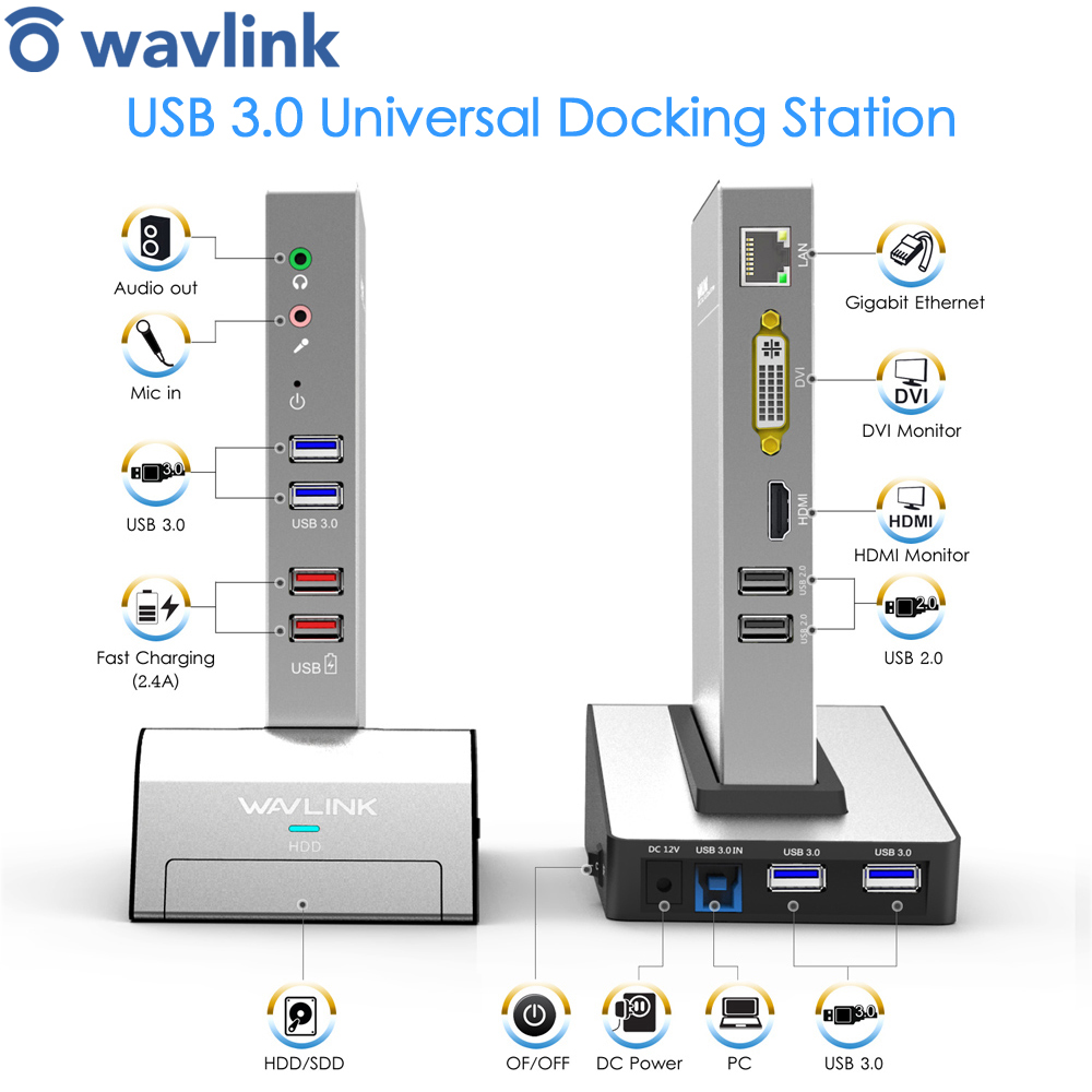 USB 3.0 Universal Docking Station Dual Video Support HDMI/VGA/DVI to 2048X1152 Gigabit Ethernet to External Graphics for Laptops