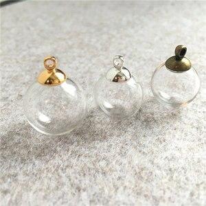 Image 2 - 200 takım 14mm 18mm boş cam küre topu ve cam küre kapaklar Charms kolye cam şişeler dilek şişe cam topları küreler