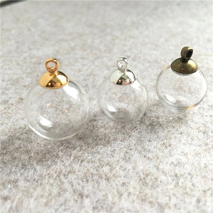 Image 2 - 200sets 14mm 18mm Empty Glass globe Ball and Glass Orb caps Charms pendants glass vials Wish Bottles glass balls orbs