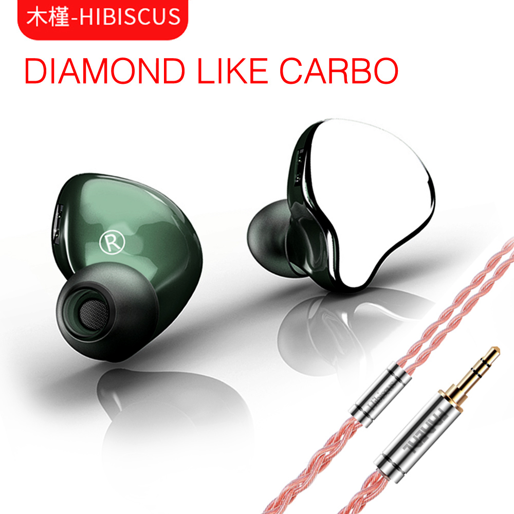 Diamant d'hibiscus FAAEAL comme diaphragme de carbone HIFI dynamique dans l'oreille écouteur moniteur étape IEM Earbud placage métal