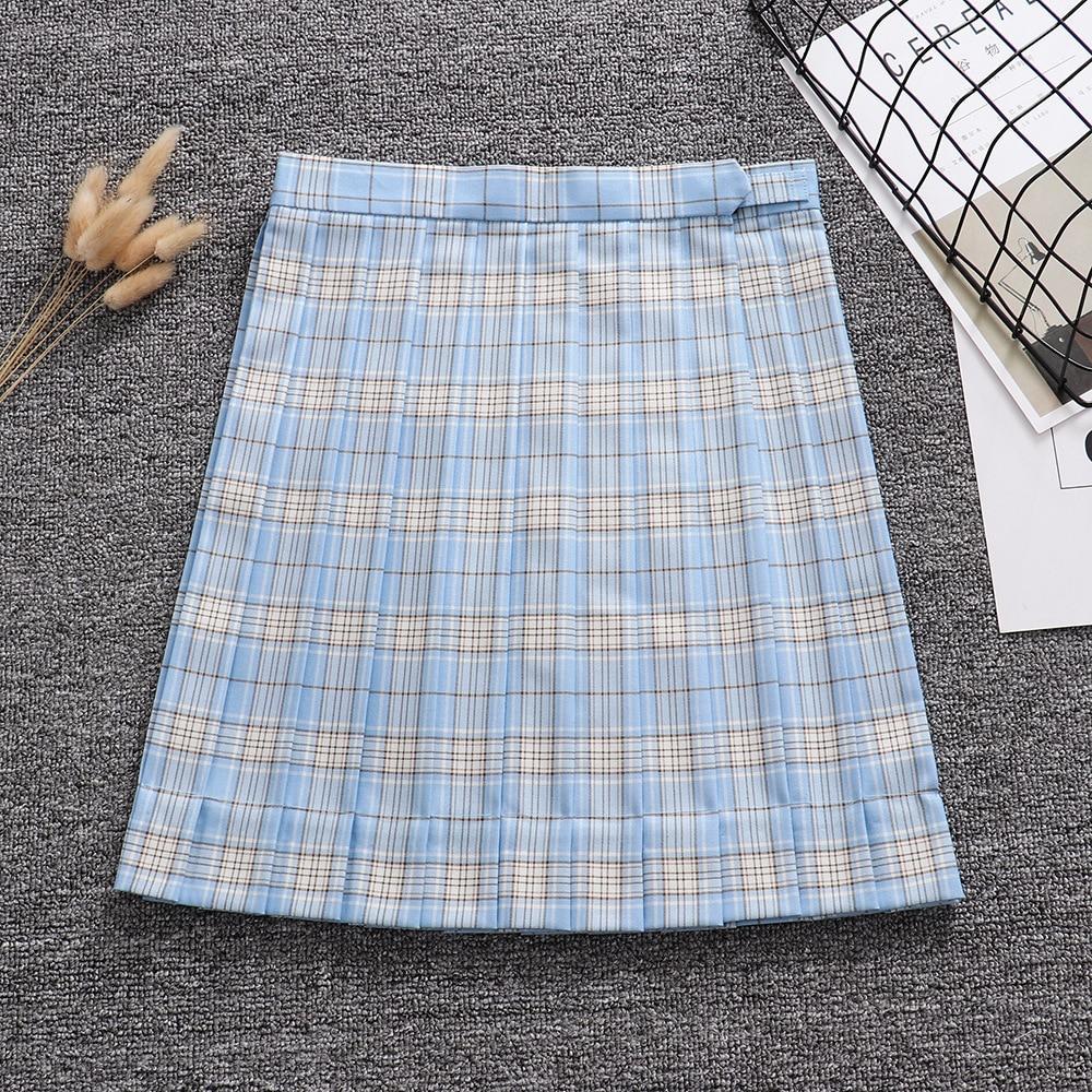 Светло синий, белый, золотой цвет геометрический клетчатая плиссированная юбка + бант + галстук (регулировка талии. Карманный)
