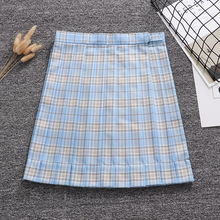Candy blue white gold color geometric lattice Pleated skirt + Bow + Tie (Adjust waist. Pocket)
