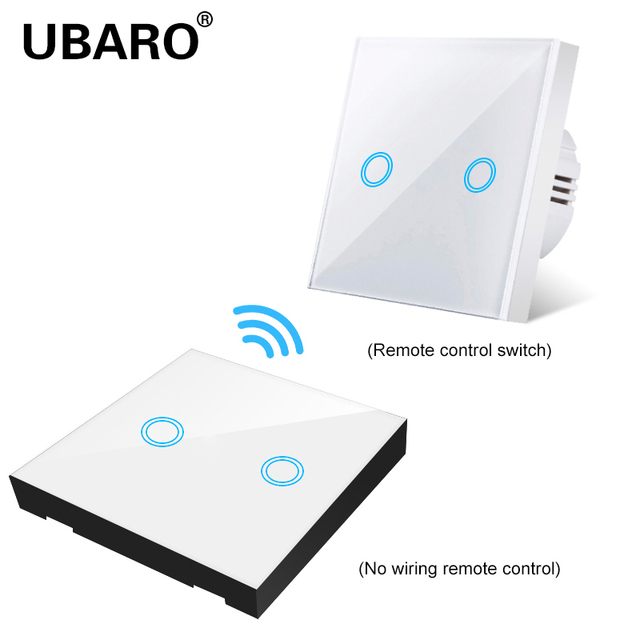 UBARO EU/UK100 240V Wireless Controller Crystal Glass Screen Smart home wall light lamp RF433 Controller Touch switches 2Gang