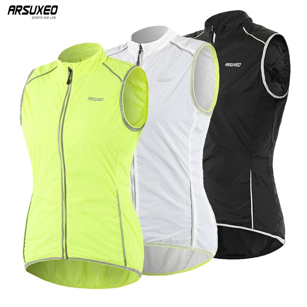 Женский велосипедный жилет ARSUXEO, уличная спортивная одежда, куртка без рукавов, ветрозащитная велосипедная майка, светоотражающая одежда д...