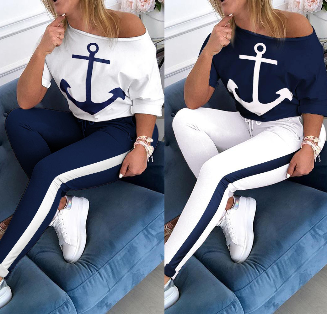 Blue And White Hot Summer 2Pcs Women's Running Sets Tracksuit Sportswear Pants Sets Sport Wear Casual Suit Ladies Sports Suit