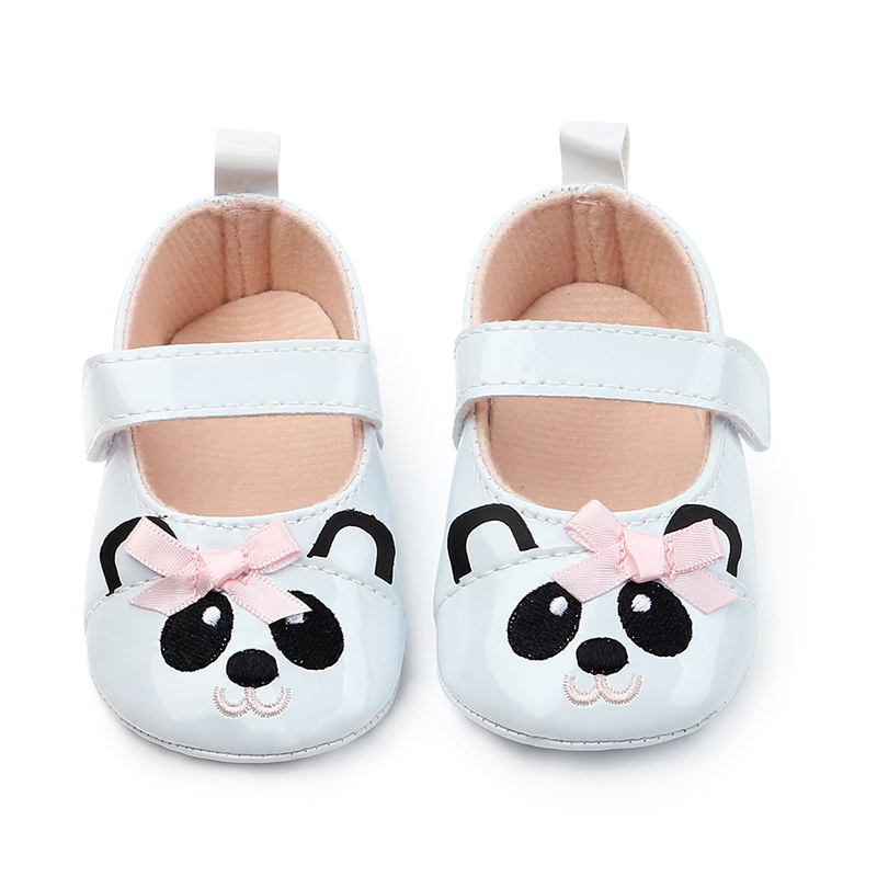 Sweet Casual Princess Baby Girls Shoes Kids Pu Leather Cartoon Panda Infant Toddler Cute Baby Shoes