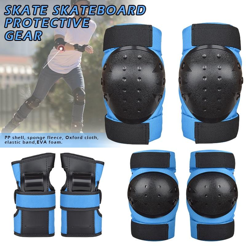 Joelho e Cotovelo Almofadas com Guardas de Pulso Crianças Adultos Conjunto Engrenagem Protetora Skate 6 Peças Hb88