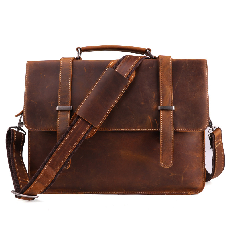 Top Grade Male Men's Vintage Real Crazy Horse Leather Briefcase Messenger Shoulder Portfolio Laptop Bag Case Office Handbag