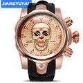 Лидер продаж, повседневные спортивные мужские часы с силиконовым ремешком и 3d-черепом, Quartzwatch, роскошные брендовые военные наручные часы ...
