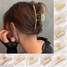 Women Fashion Simple Gold Hair Claw Retro Hair Clips Barrette Headband Hairpin Hair Crab 2021 Trend Hair Accessories