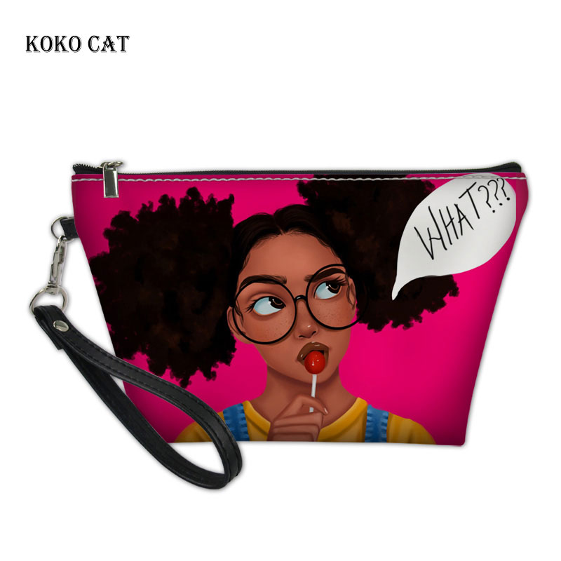 Koko Cat  Black Art Afro Lady Girls Print Make Up Bag Organizer For Cosmetics Women Makeup Case Travel Necessaire Cosmetic Bag