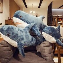 Peluche en peau de requin géant 80/100/140cm, peluche douce, manteau Semi-fini, oreiller de poisson, jouets poupée cadeau pour enfant