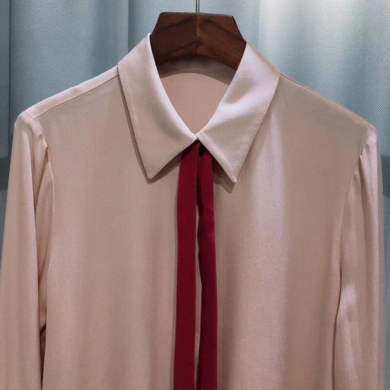 Женские блузки 2019 мода длинный рукав отложной воротник офисная рубашка свободна блузка рубашка повседневные топы плюс размер Blusas Femininas - 3