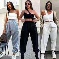 Брендовые новые женские повседневные модные штаны с высокой талией в стиле хип-хоп для занятий танцами и бегом, штаны-шаровары для бега, сво...