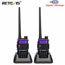 Retevis RT5R 워키 토키 2PCS 5W 128CH USB 충전기 라디오 방송국 UV 듀얼 밴드 휴대용 햄 라디오 사냥을위한 양방향 라디오
