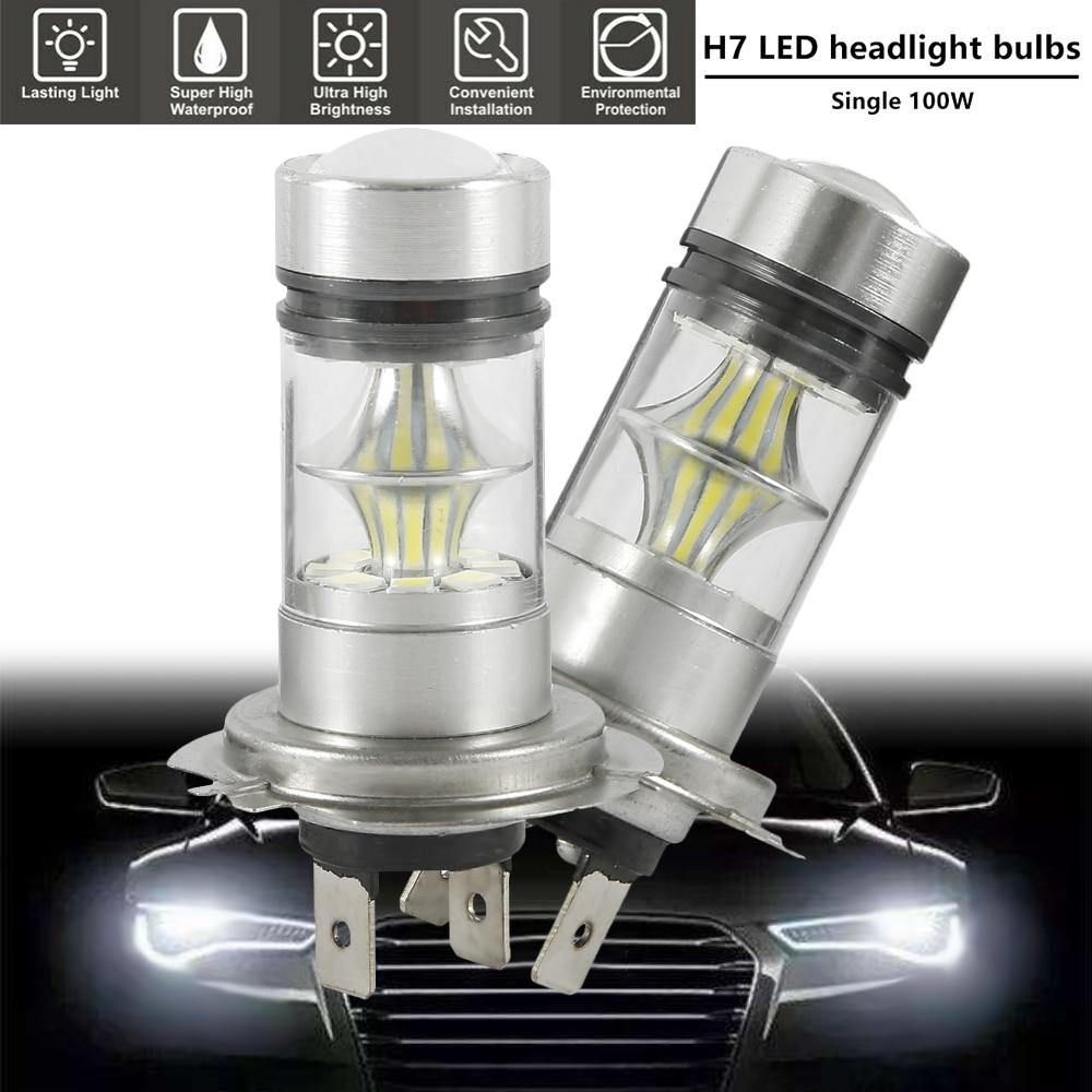 2Pcs Super Bright H7 LED Car Headlight Bulb 12V 100W 6500K Car Fog Lights Car Signal Light Driving Running Lamp Car Accessories