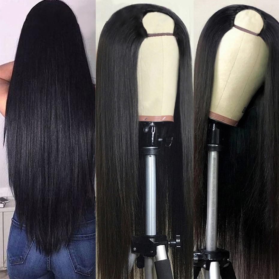 Стабильно прямые парики из человеческих волос для черных женщин, перуанские волосы, парики, дешевый парик U-образной формы, безклеевые парик...