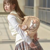 Harajuku Kawaii Soft Girl Cute Fluffy Cat Itabag Lolita Women's Transparent Jelly Shoulder Bag Japanese Plush Handbag Backpack