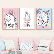 Pink Baby Room Decor Cute Animal Posters And Prints Cartoon Unicorn Pictures Art Print Nordic Poster Canvas Painting Unframed