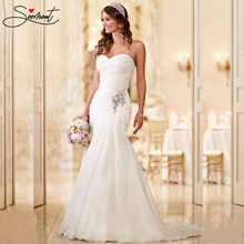SERMENT Elegant Lace Mermaid Wedding Dress  Floral Print Up Church Suitable for Africa Europe Americas Bride