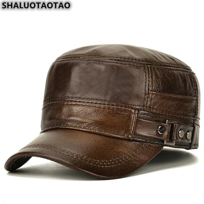 SHALUOTAOTAO Men's Flat Cap Fashion Warm Ear Protectors Genuine Leather Hat Adjustable Size Brands Cowhide Military Hats Winter