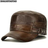 SHALUOTAOTAO männer Flache Kappe Mode Warme Ohr Protektoren Echtem Leder Hut Einstellbare Größe Marken Rindsleder Military Hüte Winter