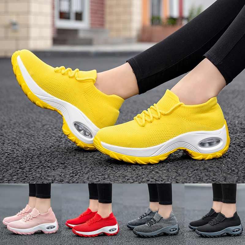 女性のための黄色のスニーカー快適女性トレーナー女性カジュアルシューズ厚底靴プラスサイズ chaussures ファム