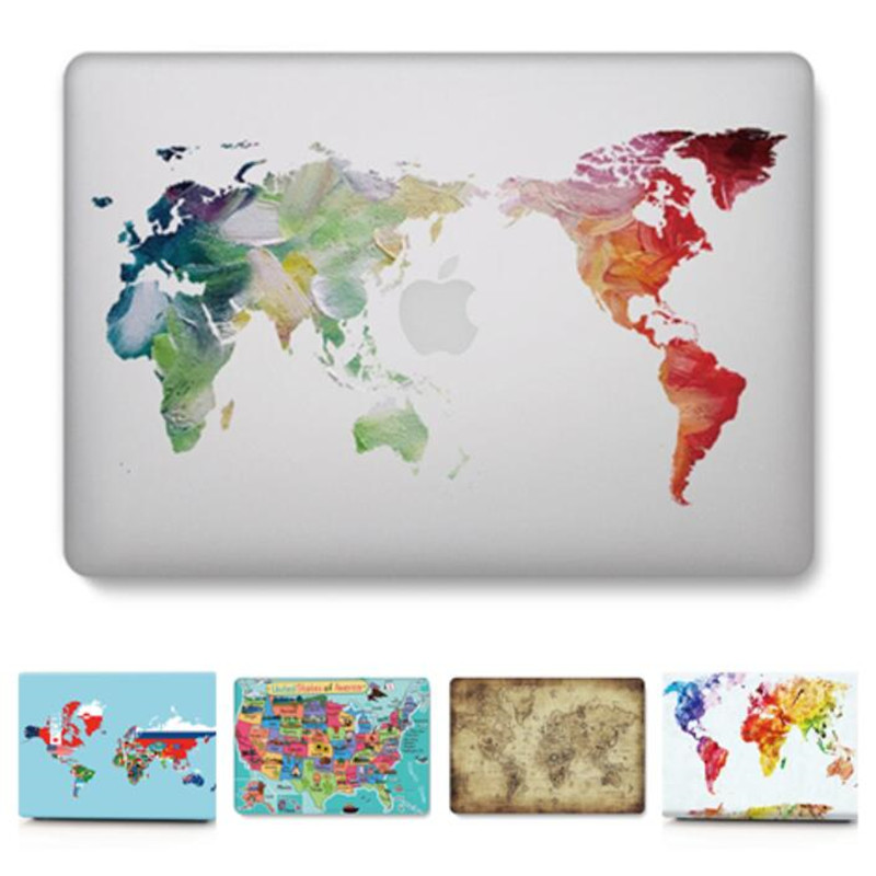 For Macbook Air Pro Retina 11 12 13 15 Case Transparent World Map Cover For Apple Mac Book 13 15 Inch A1466 A1932 A1708 A1398