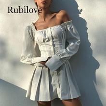 Rubilove 2019 New Spring white ruffled dress long sleeve party club square neck skater dress female mini dress vestidos цена в Москве и Питере