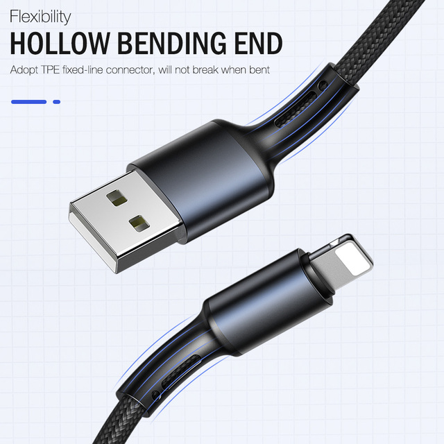 USB Cable For iPhone X XS Max 11 8 7 6 5 s 6s Plus Apple iPad Fast Charging Data Charger 2m 3m Mobile Phone Cord Short Long Wire 3