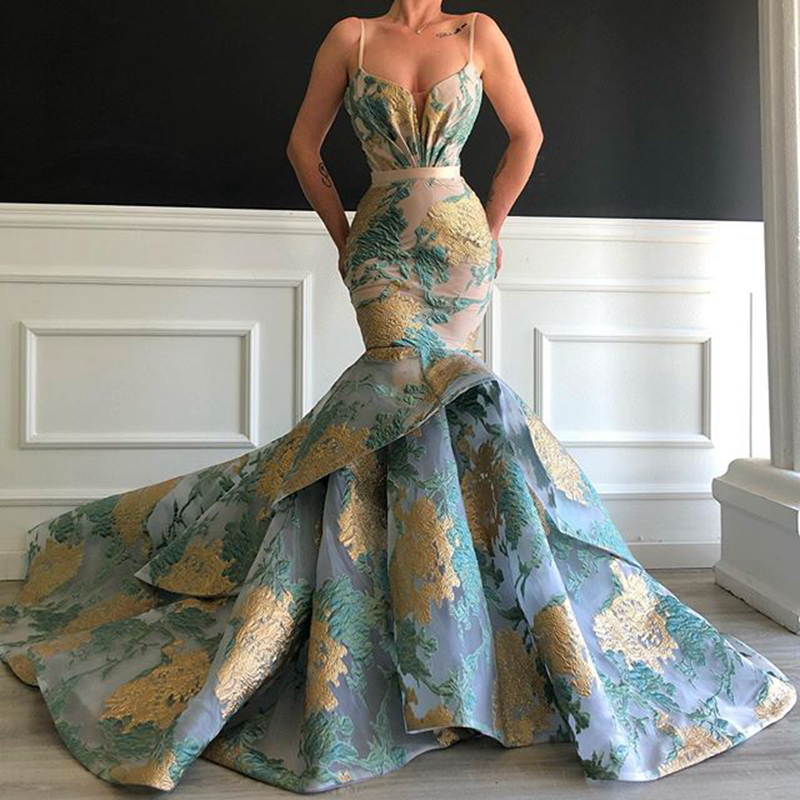 Long Elegant Arabic Mermaid Women Evening Dresses 2020 Spaghetti Strap Floral Print Dubai Formal Evening Gowns Robe De Soiree