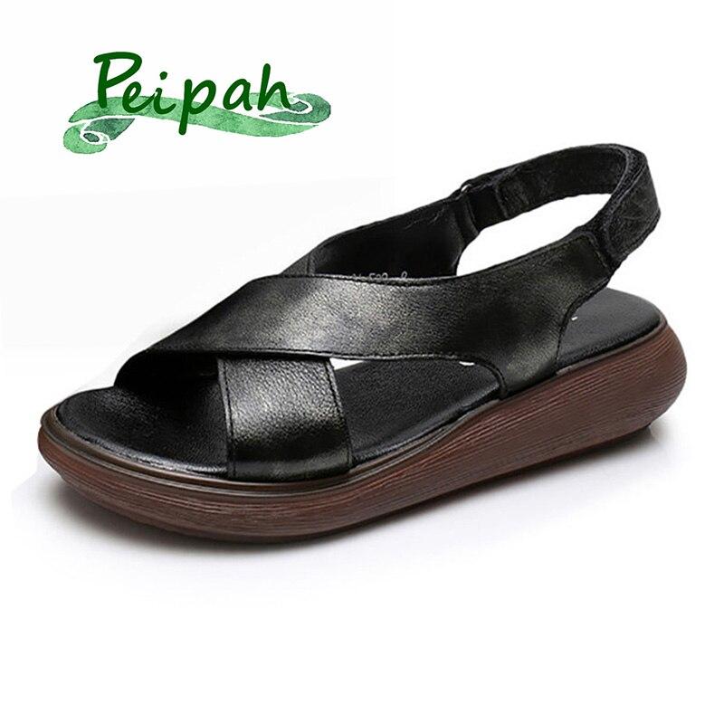 PEIPAH Retro Handmade Summer Sandals Genuine Leather Casual Platform Summer Shoes Gladiator Sandals Women Sandalias Mujer