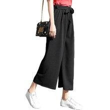 Mulheres gravata calças de perna larga cor sólida pantalones feminino cintura alta fina chiffon plus size casual senhoras calças culottes