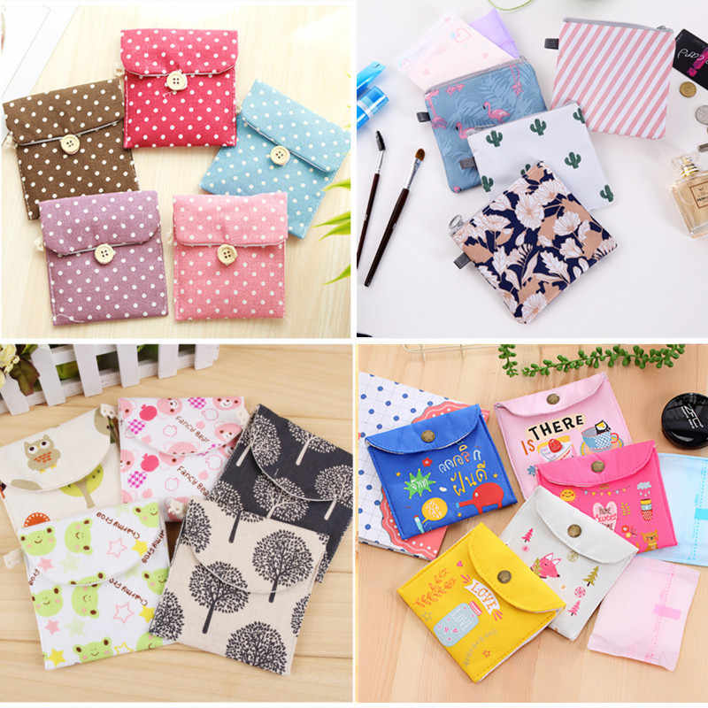 Girls Diaper Sanitary Napkin Storage Bag Canvas Sanitary Pads Package Bags Coin Purse Jewelry Organizer Credit Card Pouch Case