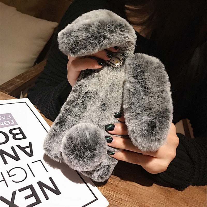 Rabbit Fur Warm Case For Huawei Honor 8X 8A 8C 8S 6A 6C 6X 10 20 V20 V10 7A 7C 7S 7X 9X Pro 10i 20i Cute Hairy Bunny Soft Cover(China)