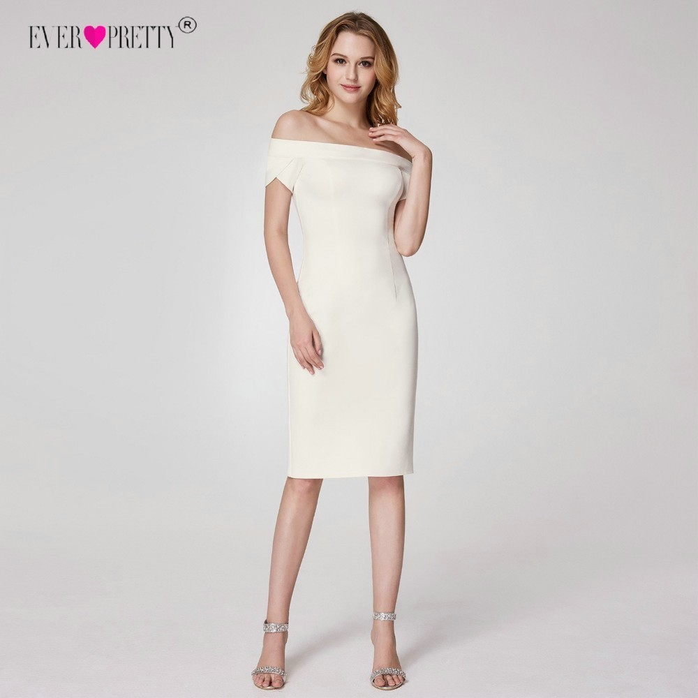 Ever pretty vestidos brancos de coquetel, decote