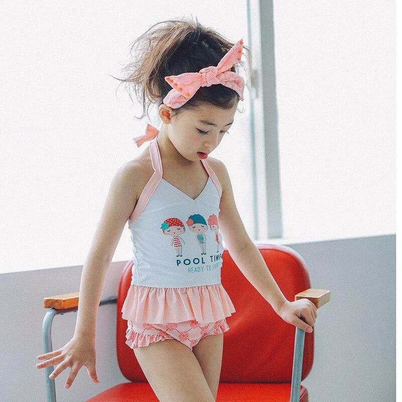 Cross Border Hot Selling KID'S Swimwear Infants Baby Chinlon Breathable Du Dou Shi Girls' Two-piece Swimsuit Three-piece Set