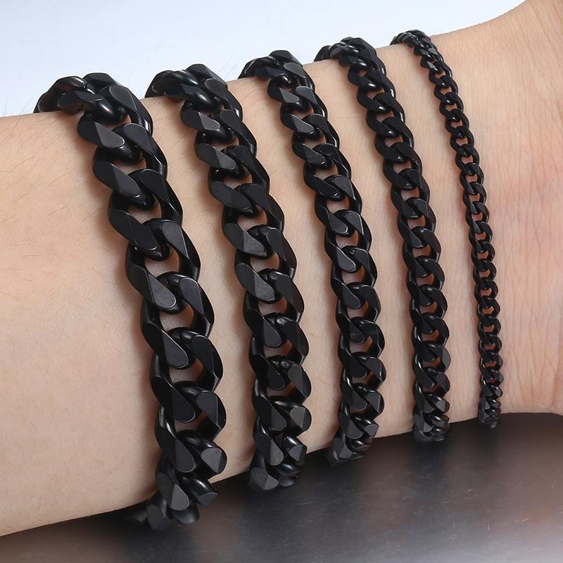 3-11mm Men's Bracelet Black Stainless Steel Cuban link Chain Bracelets Male Jewelry Wholesale Gifts 7-11″ KBB4