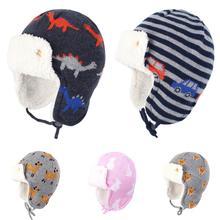 Новинка; Стильная Детская Хлопковая осенне-зимняя шапка с флисовой подкладкой для маленьких мальчиков и девочек; ветрозащитная теплая шапка с милым рисунком