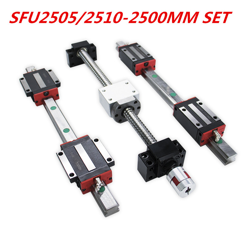 2020 promotion Y axis 25mm ball screw SFU2505/2510-2500mm BKBF20 end machining 20mm linear rail HGR20-2500mm set for CNC router