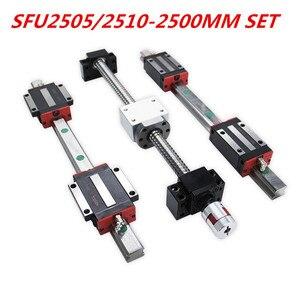 Image 2 - Tornillo de bola SFU2505/2020 2510mm BKBF20, eje Y, mecanizado de extremo de 20mm, juego de HGR20 2500mm de riel lineal para enrutador CNC, promoción de 2500