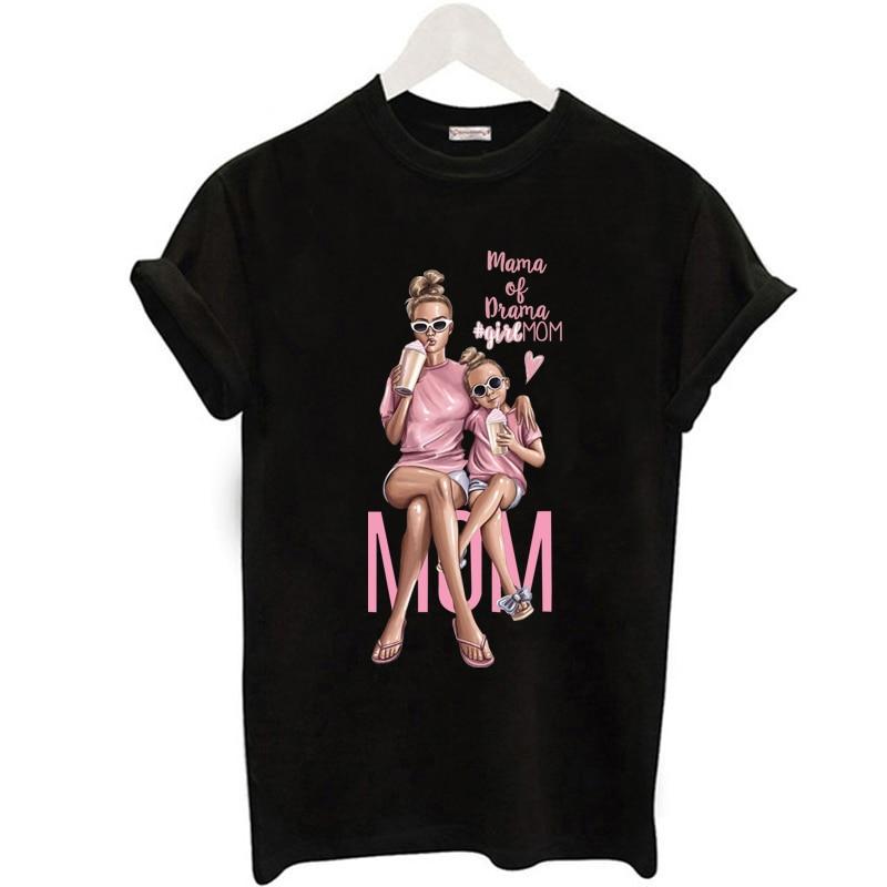FIXSYS Casual Super Mom T shirt Women Mother's Love Print Black T-shirt Harajuku Mama TShirt Tops tee shirt Femme