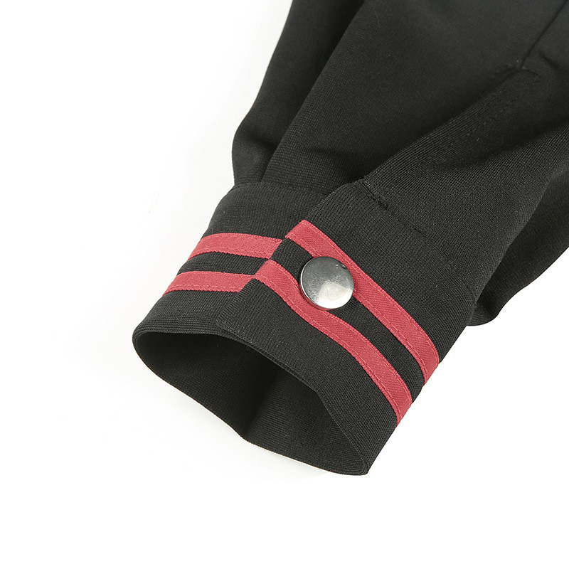 Focal20 Streetwear Sailor Collar Stripe Women Crop Jacket Casual Zipper Female Crop Coat Spring Autumn Lady Crop Jackets Tops 5