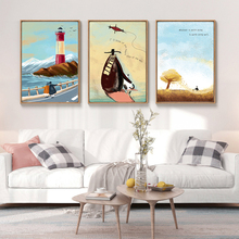 Nordic Style Bay Wall Art Poster Canvas Print for House Company Office Living Room Wall Decoration Painting